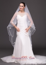 Two-tiered Tulle Wedding Pearl Fingertip Veil