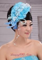 Feather Aqua Blue Headpiece Imitation Pearl