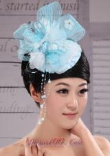 Tulle Aqua Blue Headpiece Rhinestones and Flowers