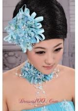 Tulle Aqua Blue Imitation Pearl New York