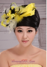 Yellow And Black Handmade Flowers Headpiece Feather