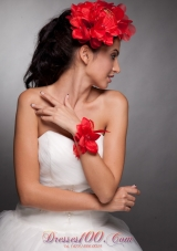 Red Taffeta Hand Flower Wrist Corsage and Headpieces