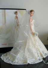 Wedding Party Barbie Doll Lace Chapel Train Veil
