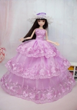 Pink Embroidery ball gown Barbie Doll