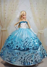 Ball Gown White and Blue Party Clothes for Barbie Doll sequined
