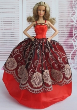 Red and Black Embroidery Straps Ball Gown Barbie Doll Dress