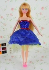 Short Royal Blue Tulle Sequined Dress for Barbie Doll