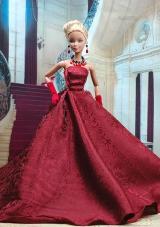 Burgundy Satin Floor Length Party Dress for Noble Barbie Doll