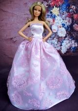 Sleeveless Lilac Princess Embroidery Barbie Doll Dress