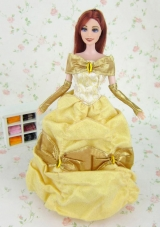 Yellow Off the Shoulder Dress for Noble Barbie Doll Organza