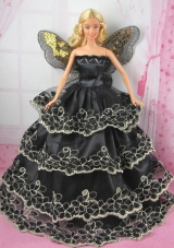 Black Strapless Barbie Doll Dress with Ruffled Layers