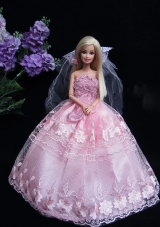 Lace Baby Pink Strapless Wedding Dress for Barbie