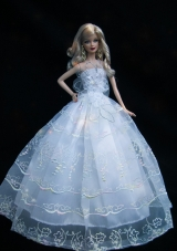 Baby Blue Strapless Lace Wedding Dress for Noble Barbie