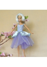 Lilac Lace Fashion Party Dress for Noble Barbie