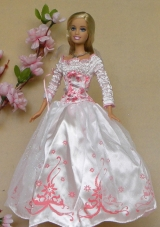 Long Sleeves white Wedding Party Dress for Noble Barbie