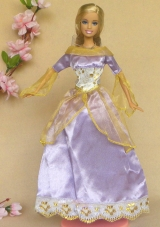 Lilac Long Sleeves Handmade Party Dress For Noble Barbie