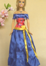Blue Off The Shoulder Handmade Dress For Noble Barbie
