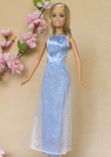 Holiday Dress for Barbie Doll Baby Blue for Prom