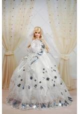 Noble Barbie Doll Dress With Sequin and handle Flowers