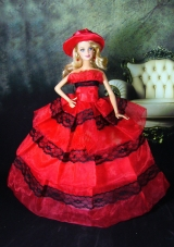 Red Dress with Lace To Fit the Barbie Doll Quinceanera