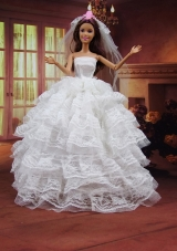 White Wedding Dress To Barbie Doll With Ruffled Layers