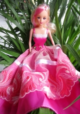Hot Pink Barbie Doll With Hand Made Flowers and Embroidery