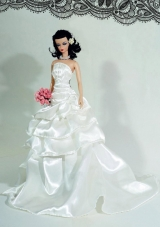 Wedding Dress For Barbie Doll with Ruffles and Brush Train