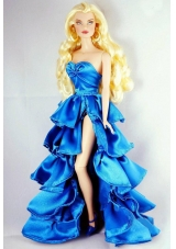 Blue Party Dress with Ruffles and High Slit For Barbie Doll