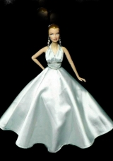 Light Blue Party Dress To Barbie Doll with Beading