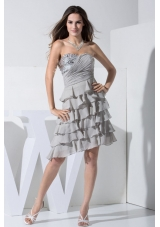 Grey Prom Dress With Sequins and Ruffled Layers Sweetheart