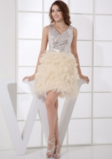 Silver and Champagne V-neck Sequined and Ruffled Prom Dress