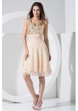 Champagne Prom Dress Sequins Knee-length Chiffon V-neck