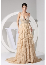 Champagne Straps Brush Train Prom Dress Embroidery and Ruffles