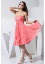 Watermelon Red 2013 Prom Dress with Beading and Pleat