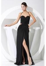 High Slit Halter Black Chiffon Floor-length 2013 Prom Dress