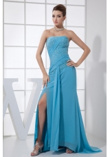 High Slit Beading Strapless Brush Train Blue Prom Dress