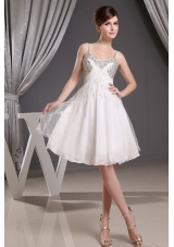 Straps White Short Prom Dress with Beading