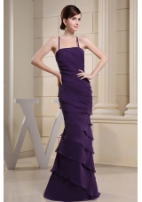 Spaghetti Straps Layered Colulm Purple Prom Evening Dress