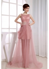 Beaded Waist Scoop Prom Dress Court Train Pink Tulle