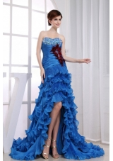High-low Beaded Mermaid Prom Dress Organza Royal Blue