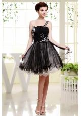 Black One Shoulder Mini-length Organza Prom Dress