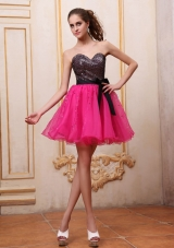 Two-toned Mini-length Prom Dress with Sequin Bowknot