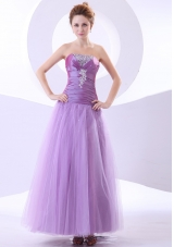 Lavender Ankle-length Tulle Beading Appliques Prom Dress