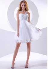 Beading Prom Dress One Shoulder Organza Knee-length