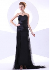 Sweetheart Black Tulle Taffeta Brush Prom Dress
