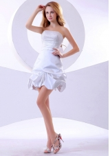 White Beaded Prom Dress A-line Mini-length Strapless