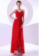 Red Straps V-neck Ankle-length Prom Dress Beaded