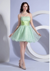 Apple Green Prom Dress Mini-length Beading Organza