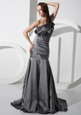 One Shoulder Silver Mermaid Beaded Prom Gown Ruffled