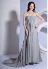Brush Train Beads Sweetheart Grey Dress for Prom